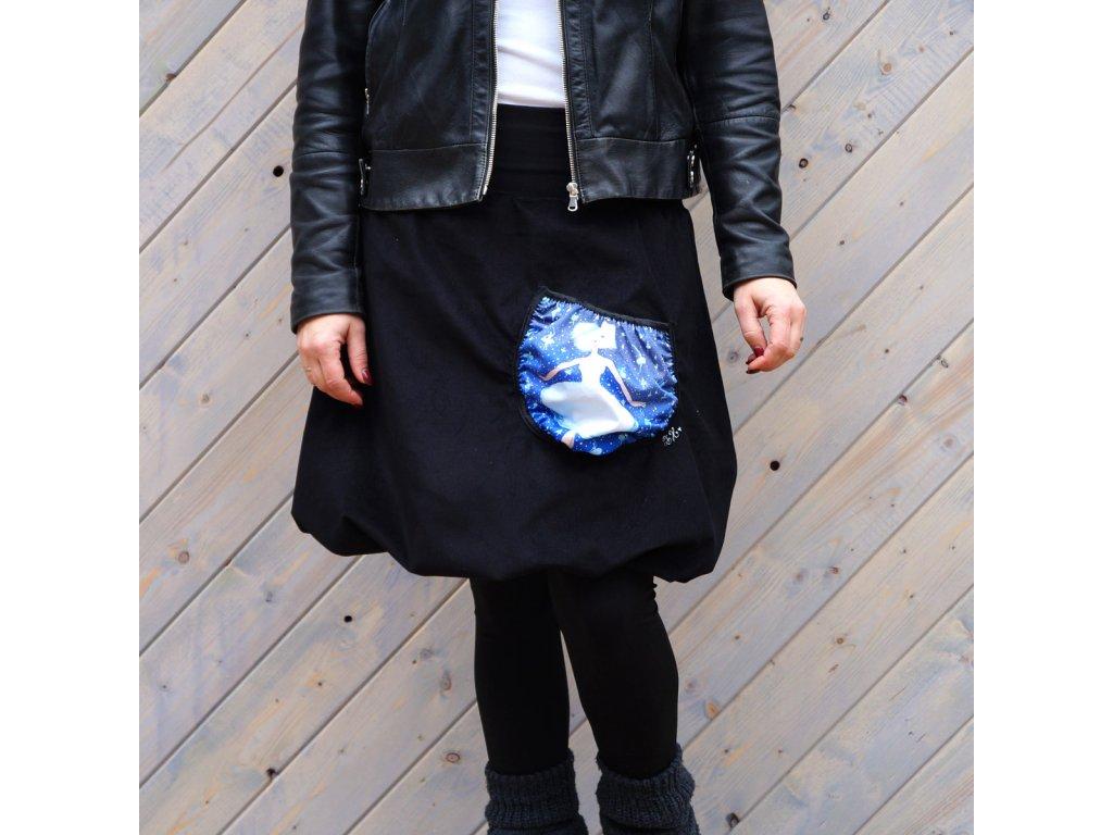 Manžestrová balonová sukně - (L)- vločka