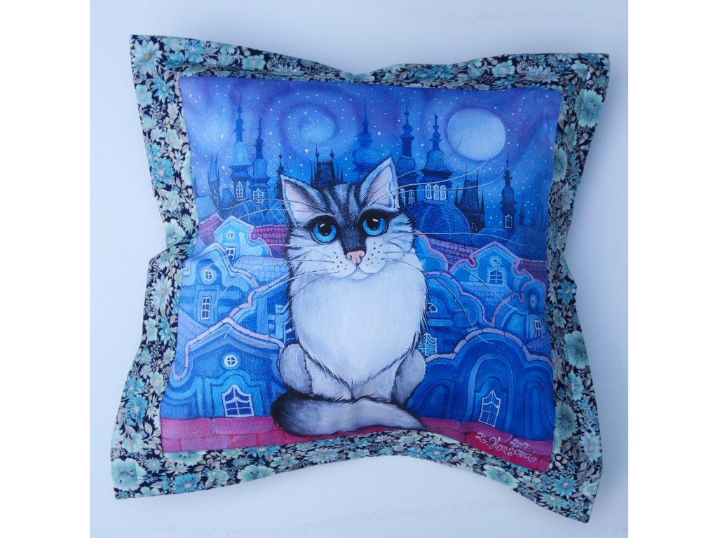 Modrý kocour- polštář 50 x 50 cm bavlna