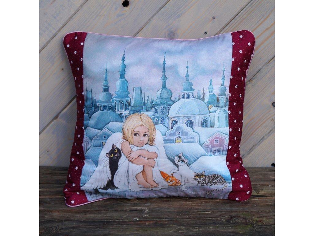 Andělka a kočičky - polštář bavlna
