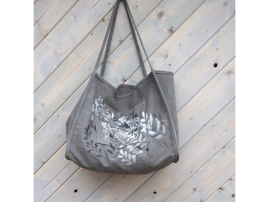 """Jednoduchá moderní plátěná malovaná taška""""Trávy""""originál"""