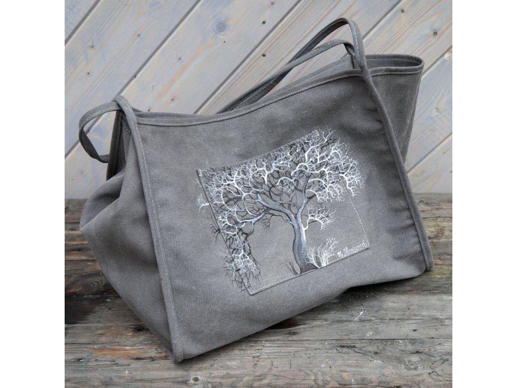 """Jednoduchá moderní plátěná malovaná taška""""Strom""""originál"""
