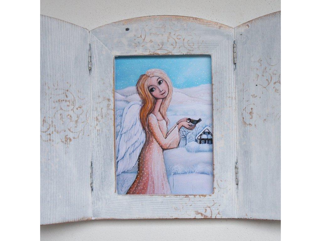 Otevírací obrázek - Andělka s ptáčkem