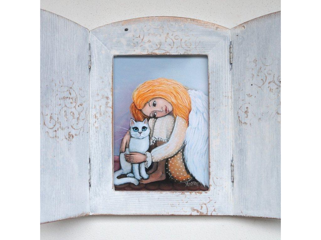 Otevírací obrázek - Andělka s bílou kočičkou