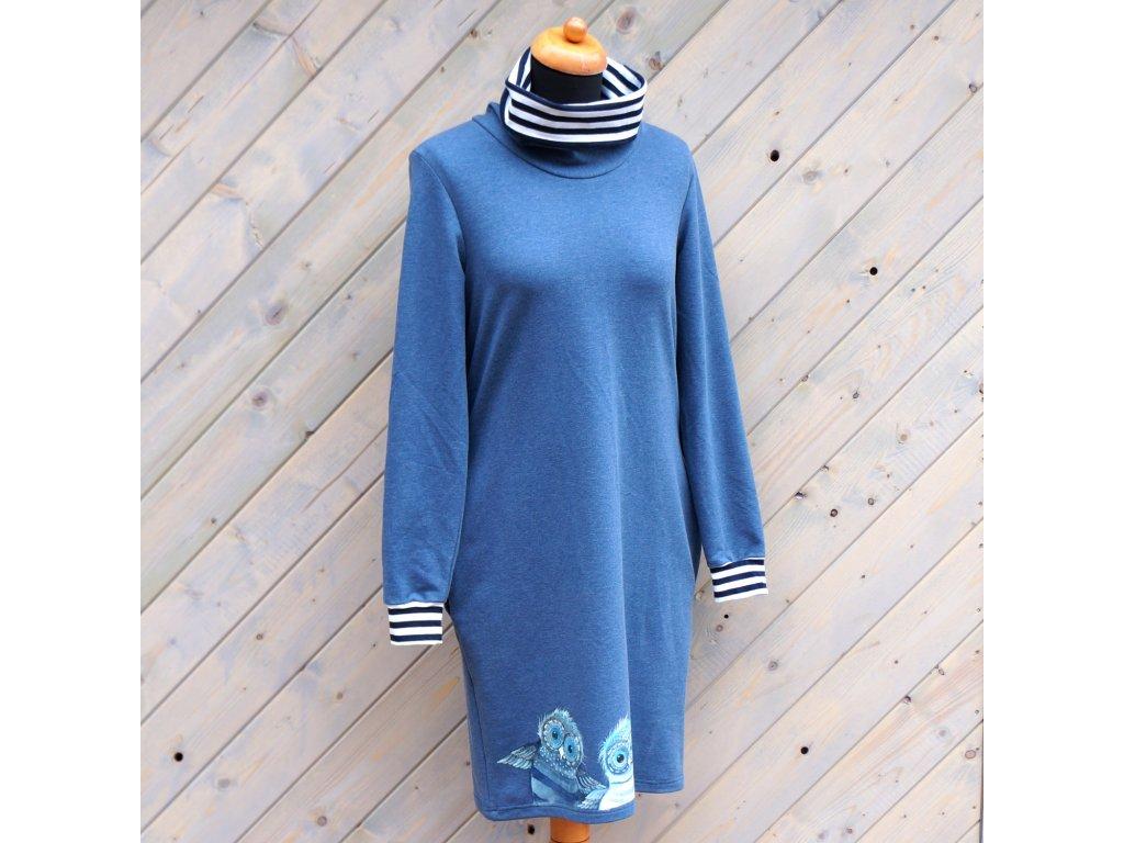 Úpletové šaty modré se sovičkama a rolákem 38