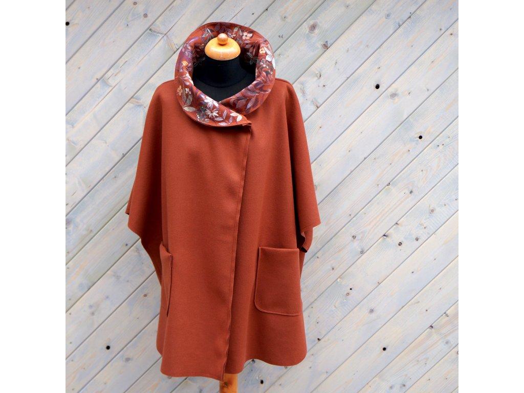 Kabát - pončo s malovaným límcem - Uni