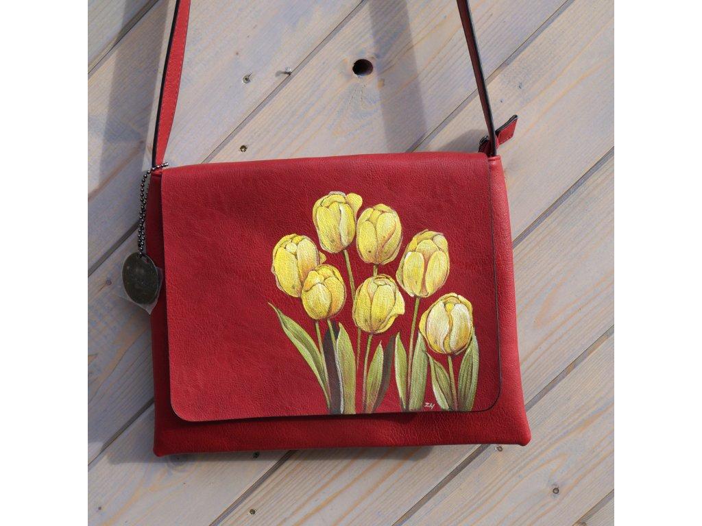Kabelka -s tulipány - originál malovaná