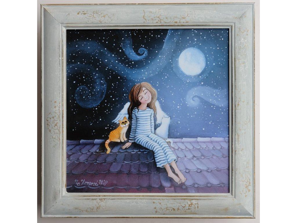 Andělka s kočičkou na střeše