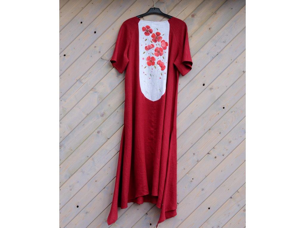 Lněné šaty originál malované 48