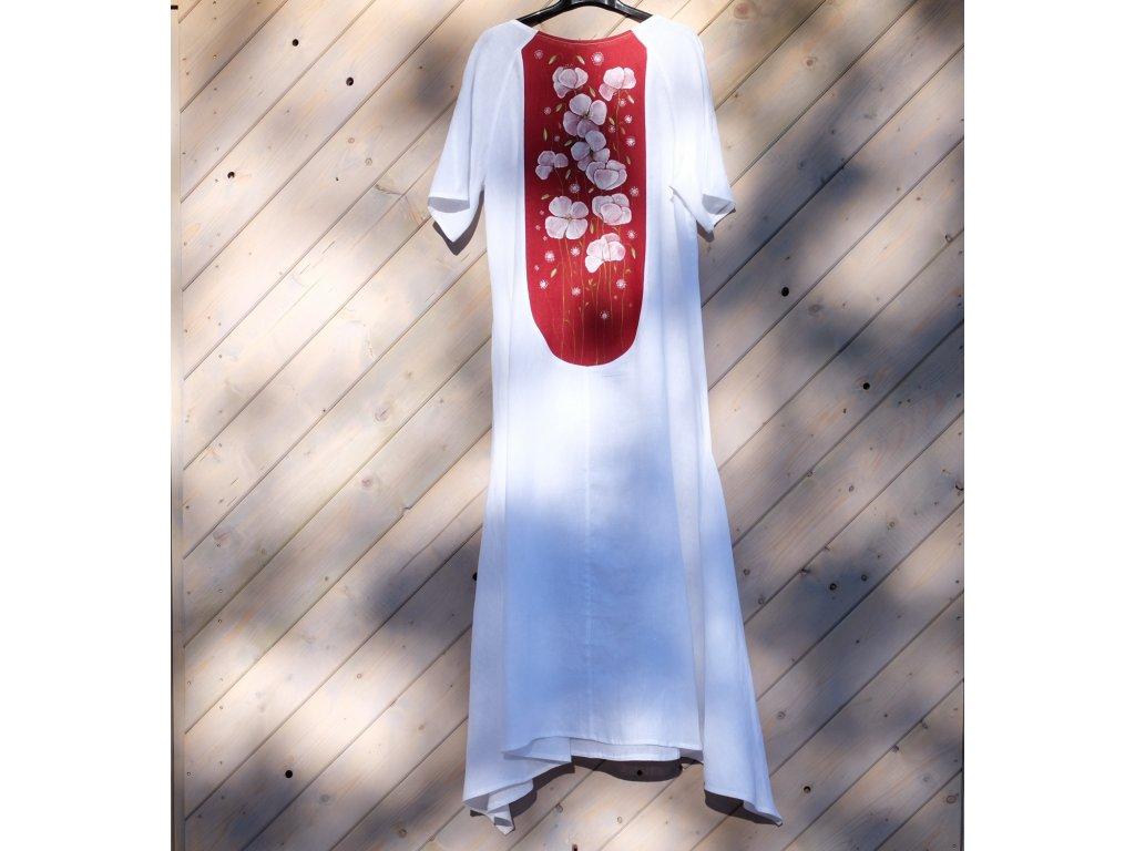 Lněné šaty originál malované  na zádech- velikost 44
