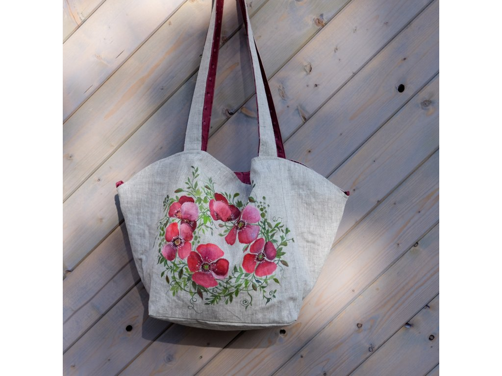 Velká prostorná lněná taška malovaná s kytkami 3