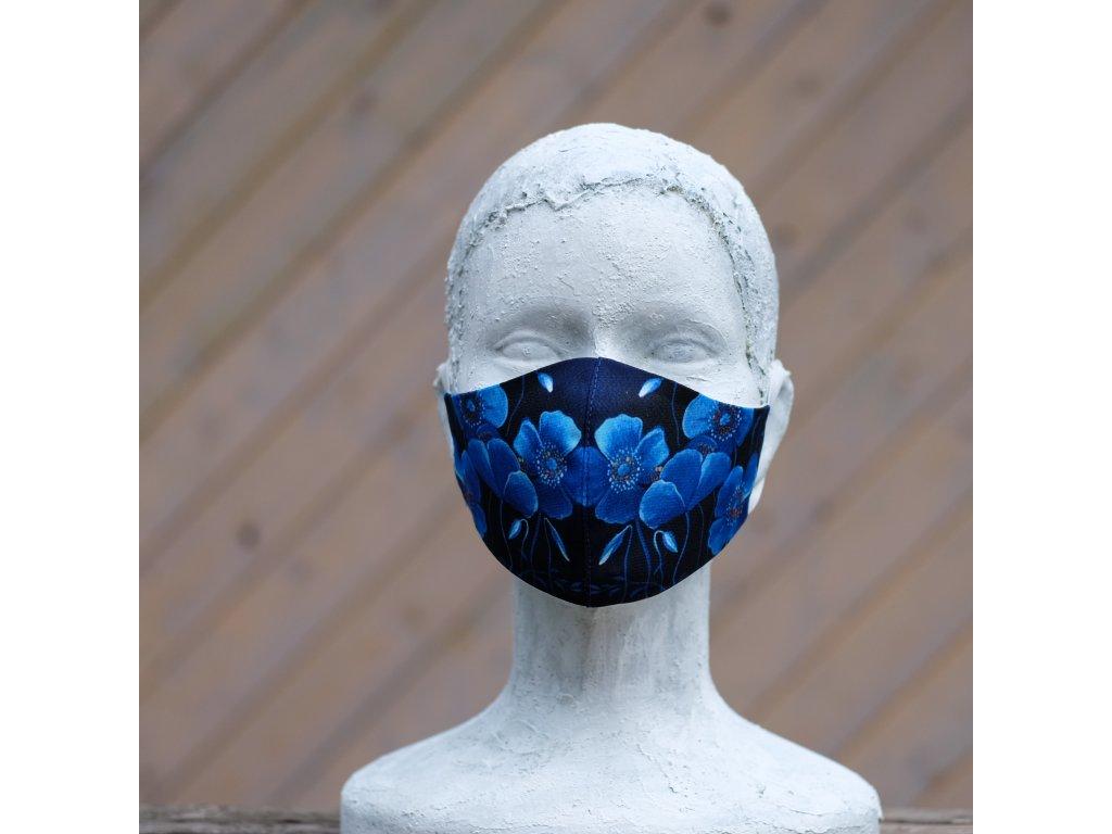 Designová dvojvrstvá rouška Modré kytičky - Velikost S(malá)