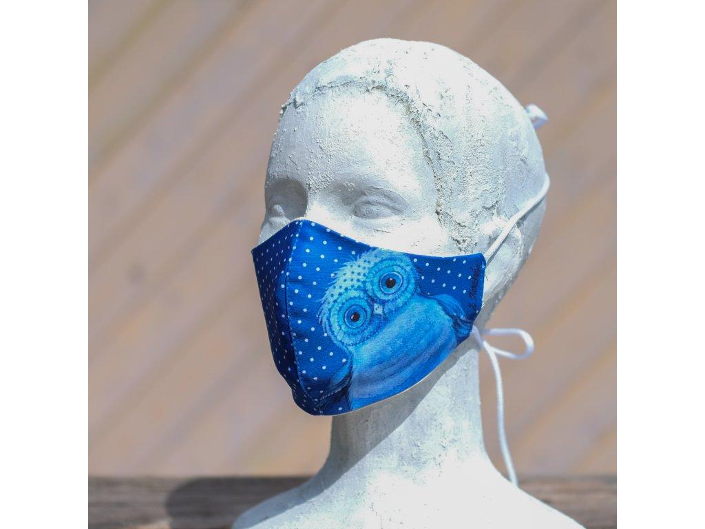 Designová dvojvrstvá rouška Sovička na modrém s puntíky - dospělá