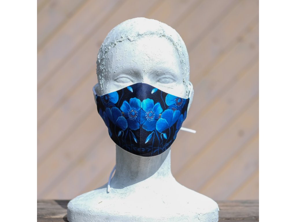 Designová dvojvrstvá rouška Modré kytky - dospělá