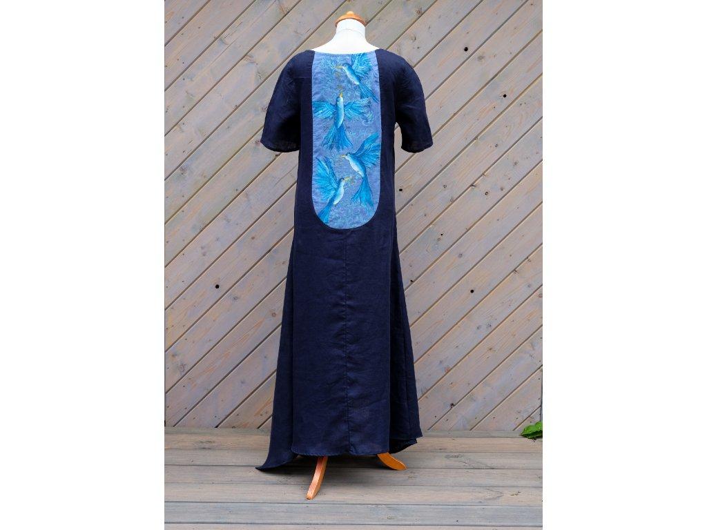 Lněné šaty originál malované  na zádech- velikost 42