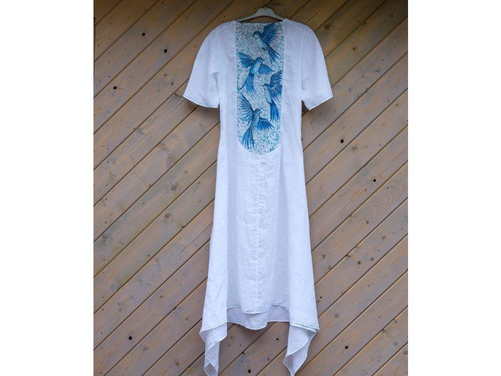 Lněné šaty originál malované  na zádech skoro svatební- velikost 42