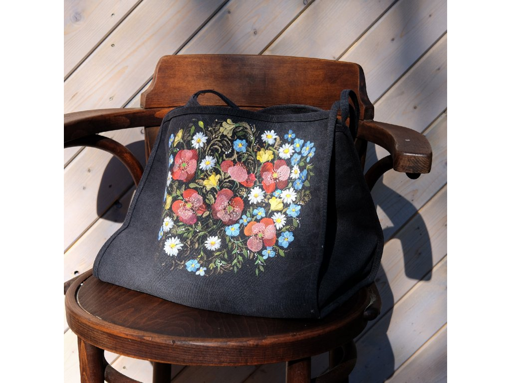 Jednoduchá moderní plátěná malovaná taška Kvetoucí léto