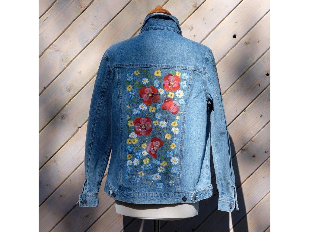 Dámská jeansová bunda - originál malovaná 36