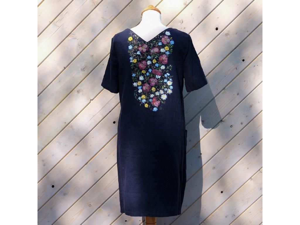 Modré  lněné malované šaty - velikost 42(14)
