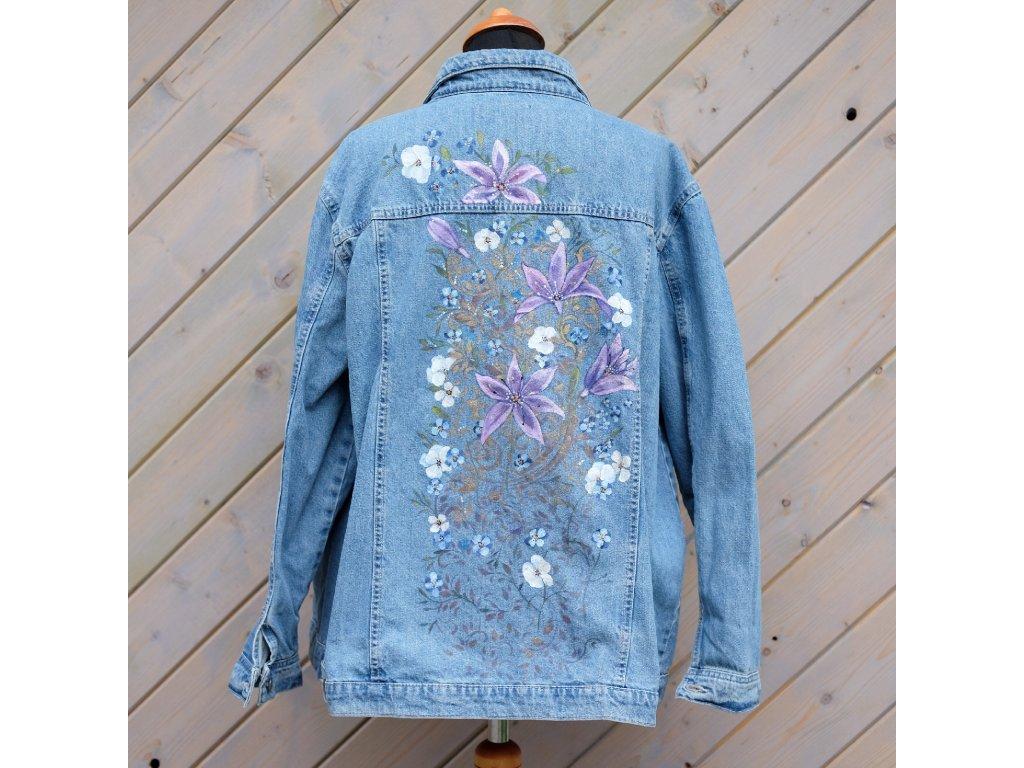 Dámská jeansová bunda - originál malovaná 50