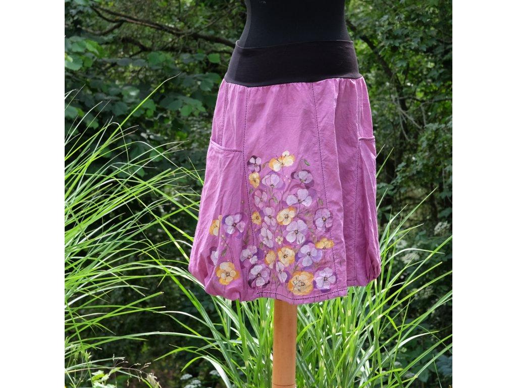 Sukně  s kapsami - barvená a malovaná - originál 42