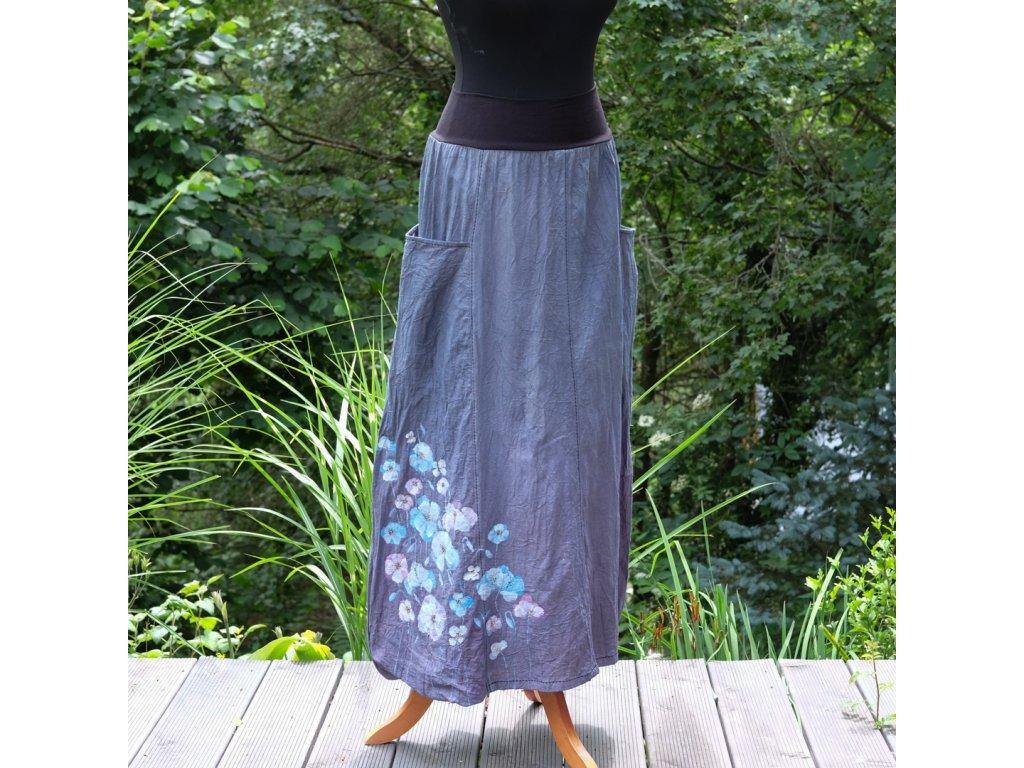 Sukně  s kapsami - barvená a malovaná - originál 38