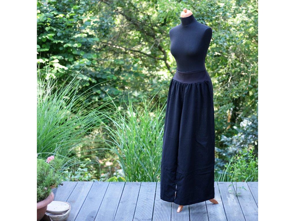 lehoučké široké kalhoty černé 40