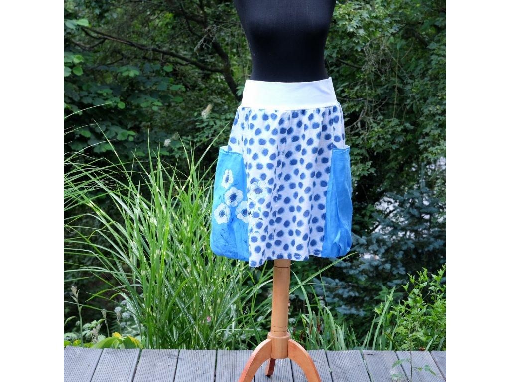Sukně  s kapsami -  malovaná 100 % len - originál 50
