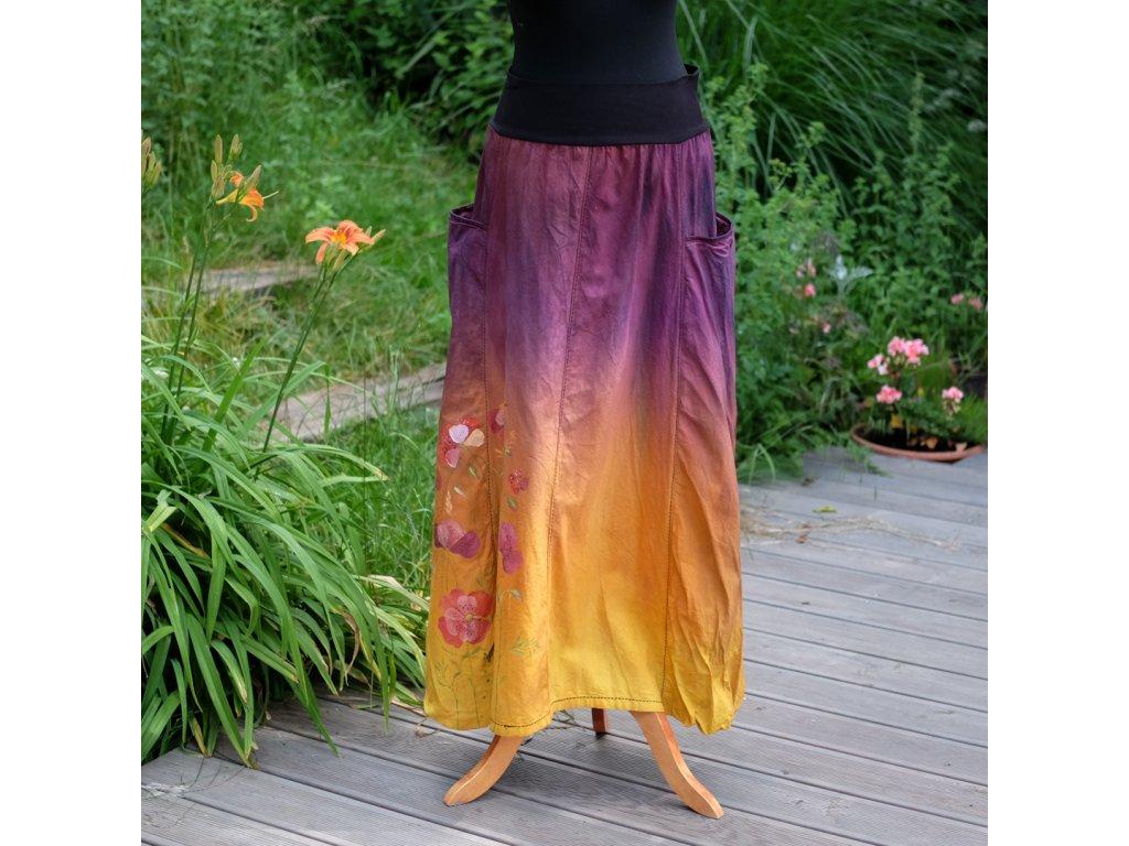 Sukně  s kapsami - barvená a malovaná - originál 46