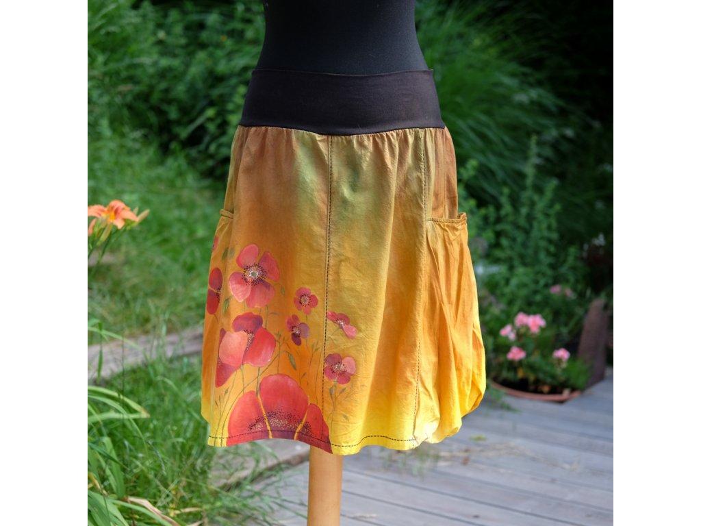 Sukně  s kapsami - barvená a malovaná - originál 44
