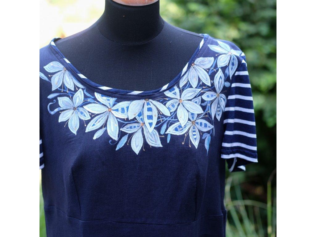 Lněné, malované šaty kvetoucí modře - 48
