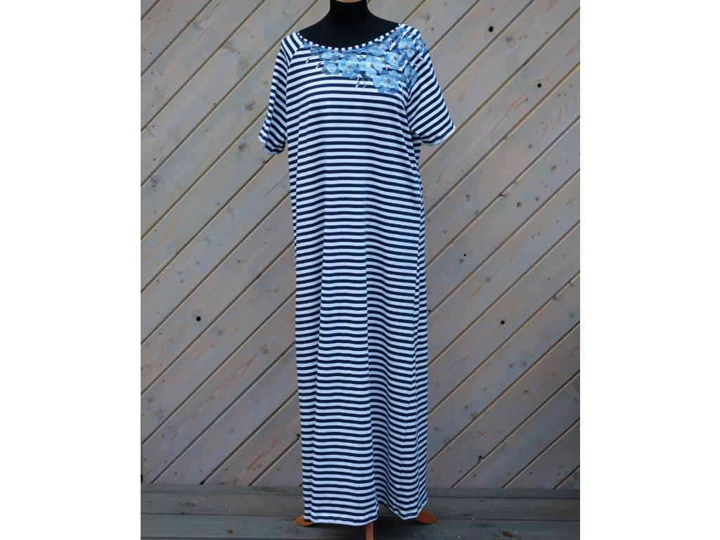 Úpletové šaty pruhované, originál malované - 44