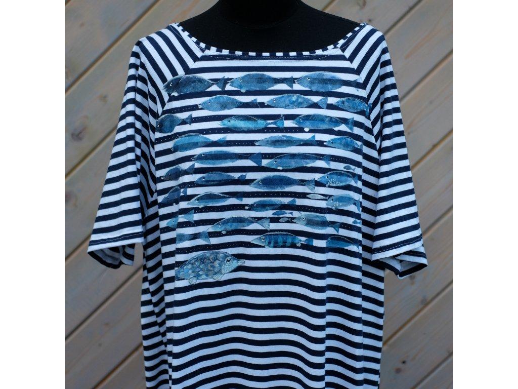 Úpletové šaty pruhované, originál malované - 52