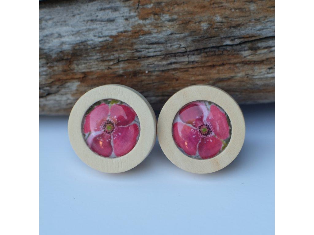 Pecky dřevěné kytičkové