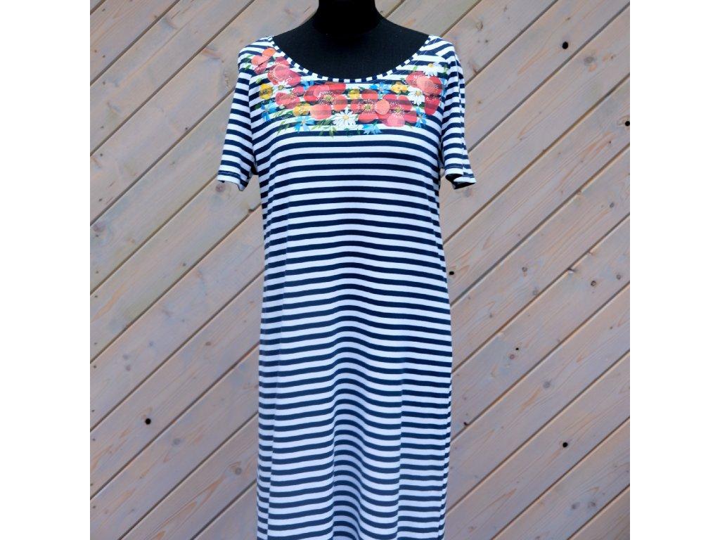 Úpletové šaty pruhované, originál malované - 42