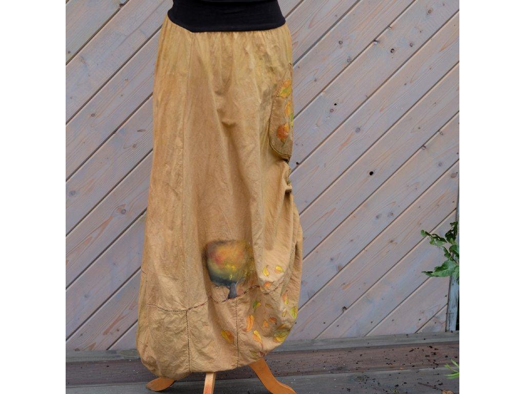 Sukně barvená a malovaná, dlouhá  velikost 36