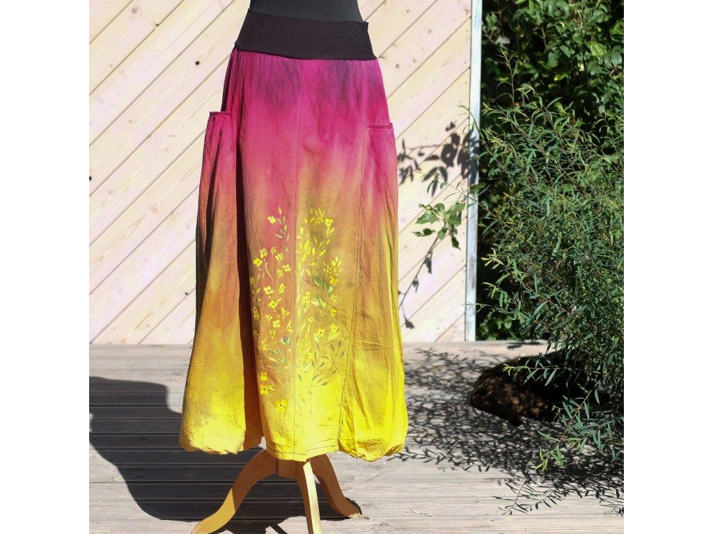 Sukně barvená a malovaná, dlouhá 40