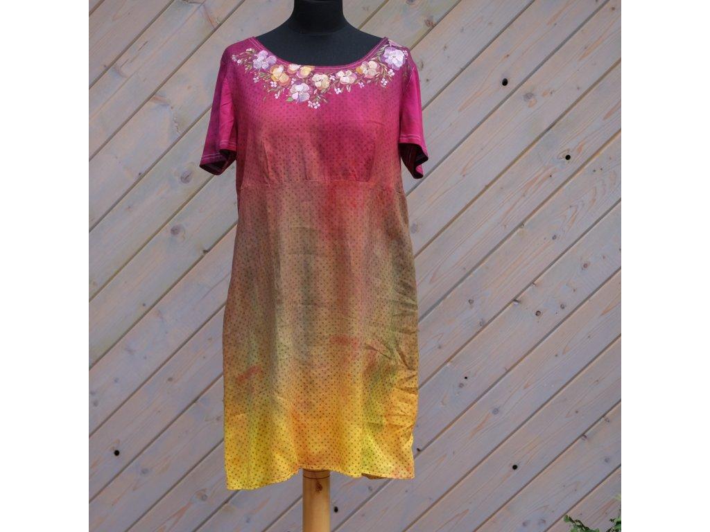 Lněné,  barvené a malované šaty kvetoucí  - 46