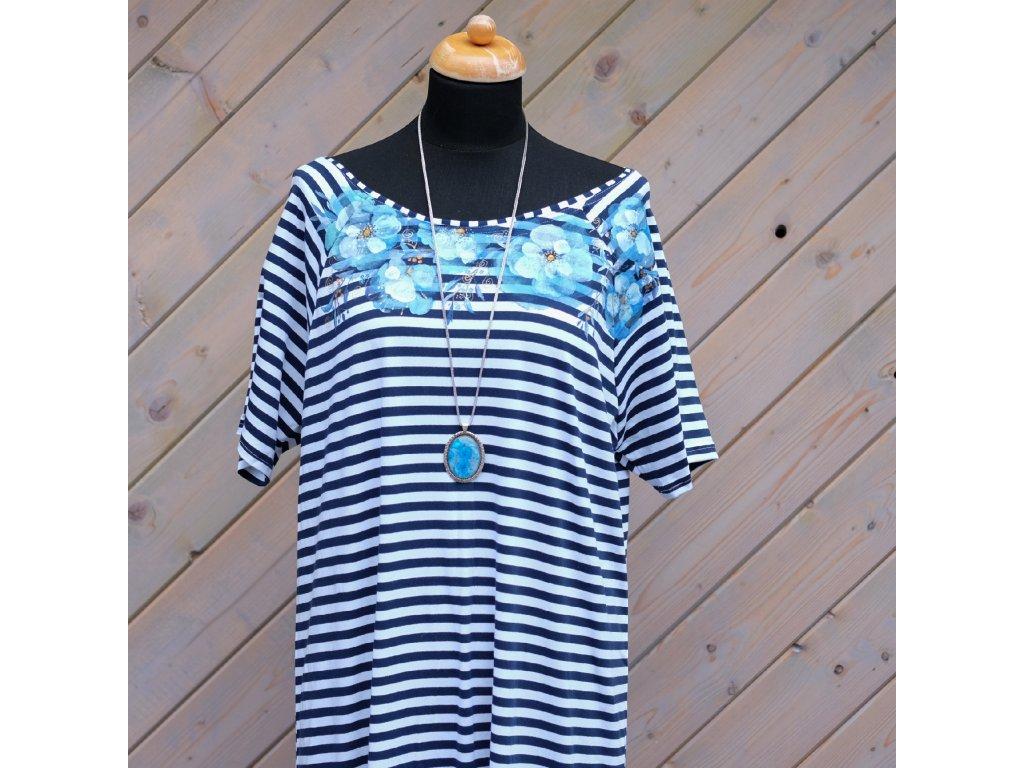 Úpletové šaty pruhované, originál malované - 46