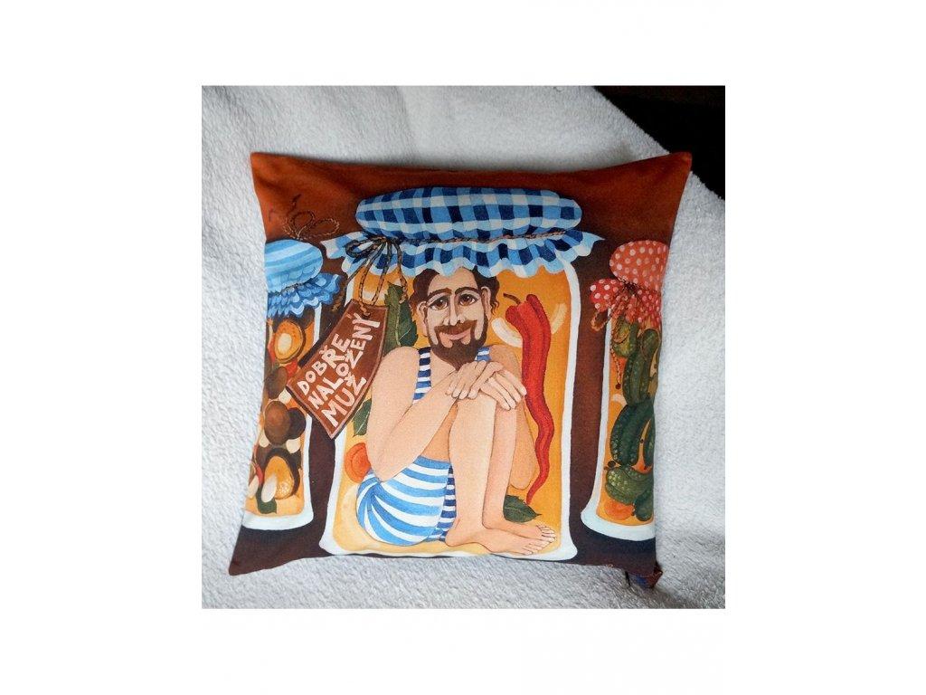 Dobře naložený muž - polštář bavlna