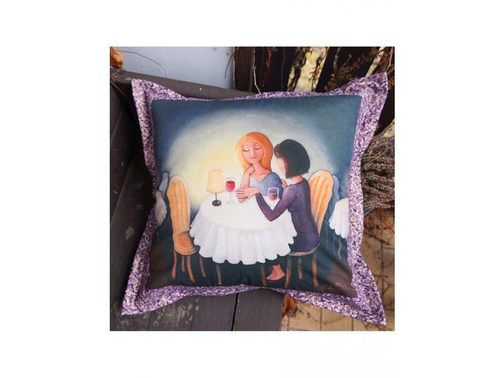 Přítelkyně - polštář 50 x 50 cm bavlna