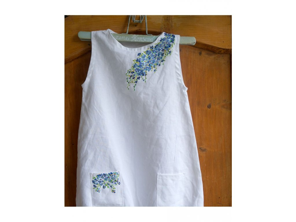Len 100 - košilka od andělky - velikost 100, ručně malované