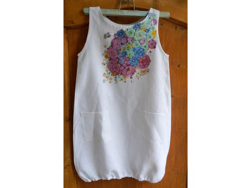 Len - košilka od andělky  ručně  malovaná - velikost 140