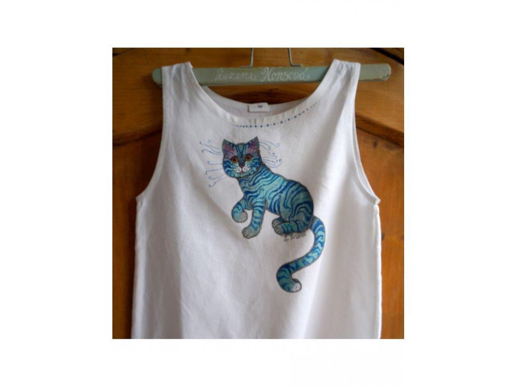 Len - košilka od andělky  ručně  malovaná - velikost 146