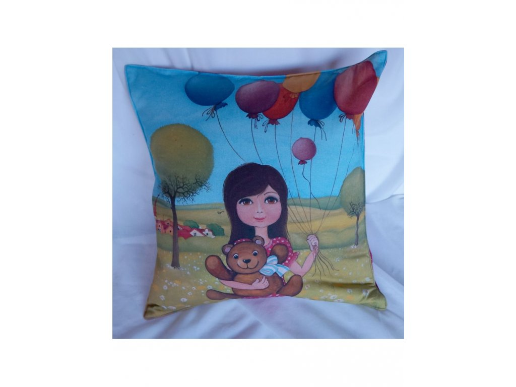 Holčička s balonky - polštář bavlna