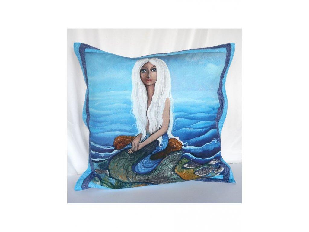 Mořská panna - polštář 50 x 50 cm bavlna