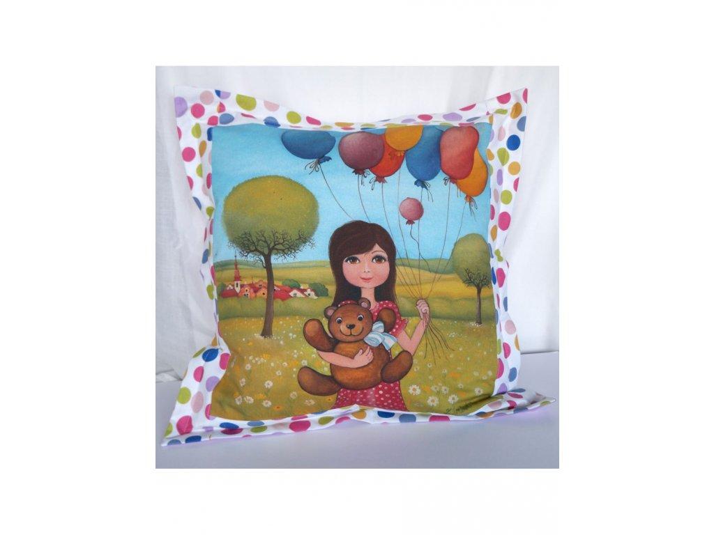 Hočička a balonky - polštář 50 x 50 cm bavlna