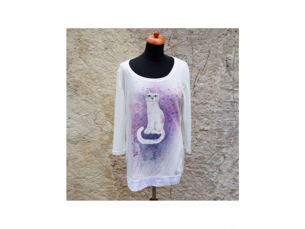 """Úpletové""""triko"""" Bílá kočička (46)"""