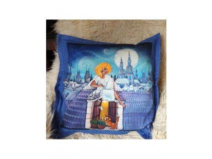Andělka co si ráda hraje - polštář 50 x 50 cm bavlna