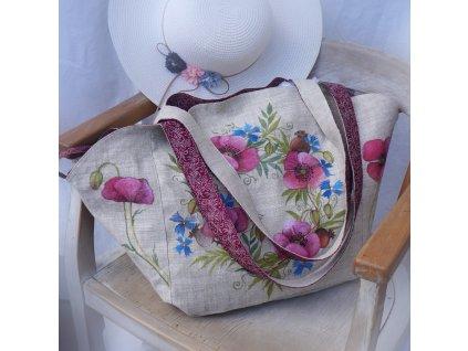 Velká prostorná lněná taška malovaná s kytkami