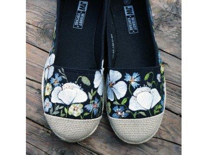 Černé espadrilky kvetoucí 38